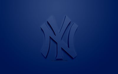 New York Yankees, American club di baseball, creativo logo 3D, sfondo blu, emblema 3d, MLB, New York, USA, Major League di Baseball, 3d arte, il baseball, il logo 3d