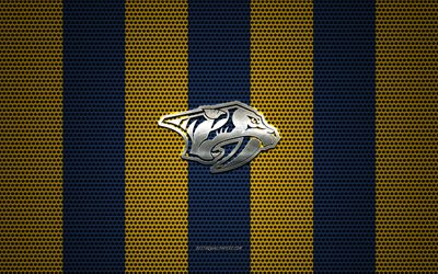 Nashville Predators logo, American hockey club, metal emblem, yellow-blue metal mesh background, Nashville Predators, NHL, Nashville, Tennessee, USA, hockey