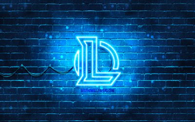 League of Legends azul do logotipo, LoL, 4k, azul brickwall, League of Legends logotipo, Jogos de 2020, League of Legends neon logotipo, League of Legends, LoL logo