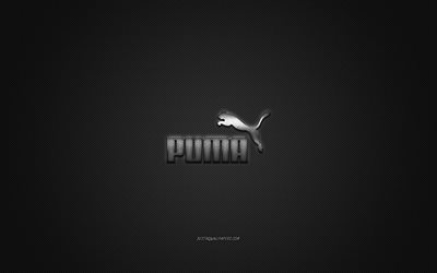 Puma logo, metal emblem, apparel brand, black carbon texture, global apparel brands, Puma, fashion concept, Puma emblem