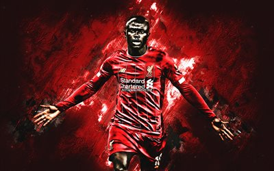 Sadio Mane, Senegalese soccer player, Liverpool FC, midfielder, red creative background, Premier League, football, England