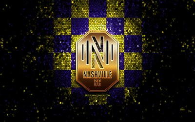 Nashville FC, glitter logo, MLS, blue yellow checkered background, USA, american soccer team, FC Nashville, Major League Soccer, Nashville new logo, mosaic art, soccer, football, America, FC Nashville logo