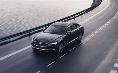 Volvo S90, 4k, route 2020 pour les voitures, voitures de luxe, Volvo S90 T8, 2020 Volvo S90, Volvo