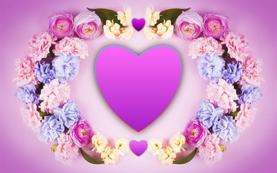 floral love frame, 4k, hearts, love concepts, flowers, floral heart, creative, heart of flowers