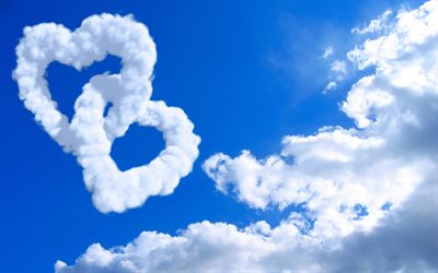 two hearts, clouds hearts, love concepts, blue sky, 3D art, heart made of clouds, 3D hearts, artwork, hearts