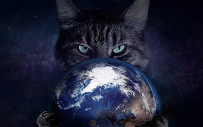 cat with globe, creative, Earth, artwork, cat, space, globe, cat in space