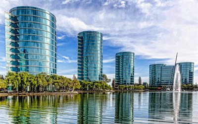Silicon Valley, Oracle, San Francisco, modern buildings, modern architecture, fountain, California, USA