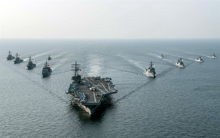 USS Ronald Reagan, CVN 76, American aircraft carrier, US Navy, South Korean Navy, sea, warships, destroyers