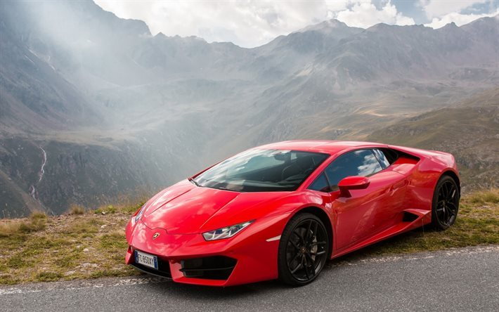 download wallpapers lamborghini huracan lp580 2 2017 red huracan sports car mountains. Black Bedroom Furniture Sets. Home Design Ideas