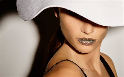 Lily Aldridge, American top model, super make-up, white hat, beautiful women