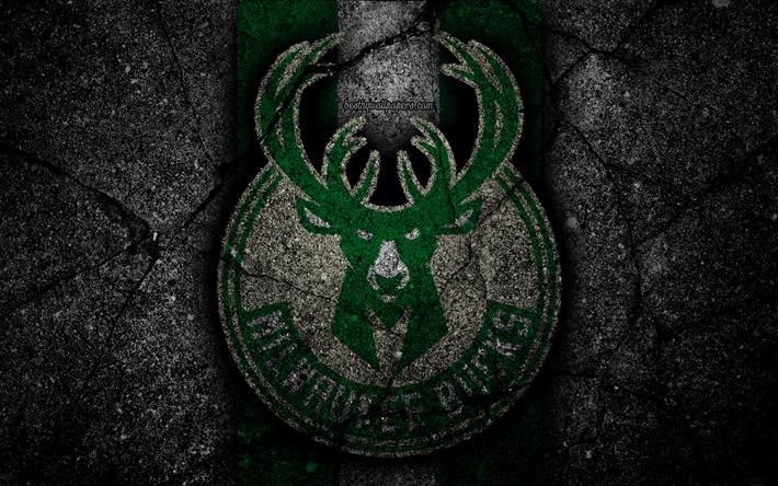 Download Wallpapers Milwaukee Bucks Nba 4k Logo Black