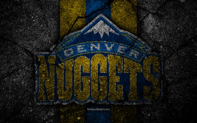 denver nuggets, nba, 4k, logo, schwarz-stein, basketball, western conference, asphalt textur, usa, kreative, basketball club, denver nuggets logo