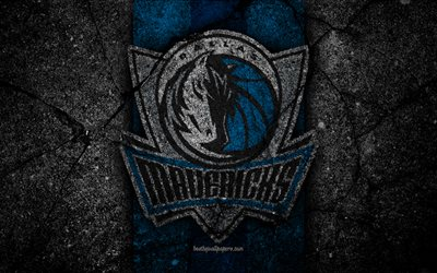 dallas mavericks, nba, 4k, logo, schwarz-stein, basketball, western conference, asphalt-textur -, usa -, kreativ -, basketball-club, die dallas mavericks logo