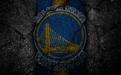 golden state warriors, nba, 4k, logo, schwarz-stein, basketball, western conference, asphalt textur, usa, kreative, basketball club, golden state warriors logo