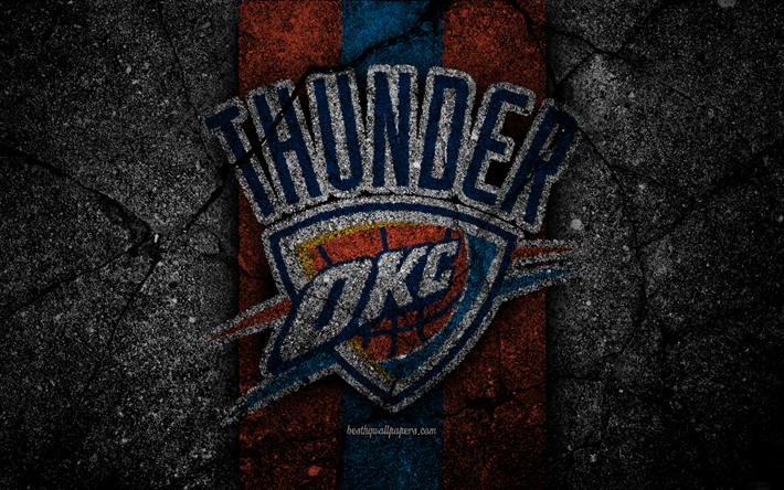 Oklahoma City Thunder NBA 4k Logo Black Stone Basketball Western