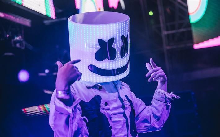 Marshmello Neon Lights Night Club DJ Superstars DJs