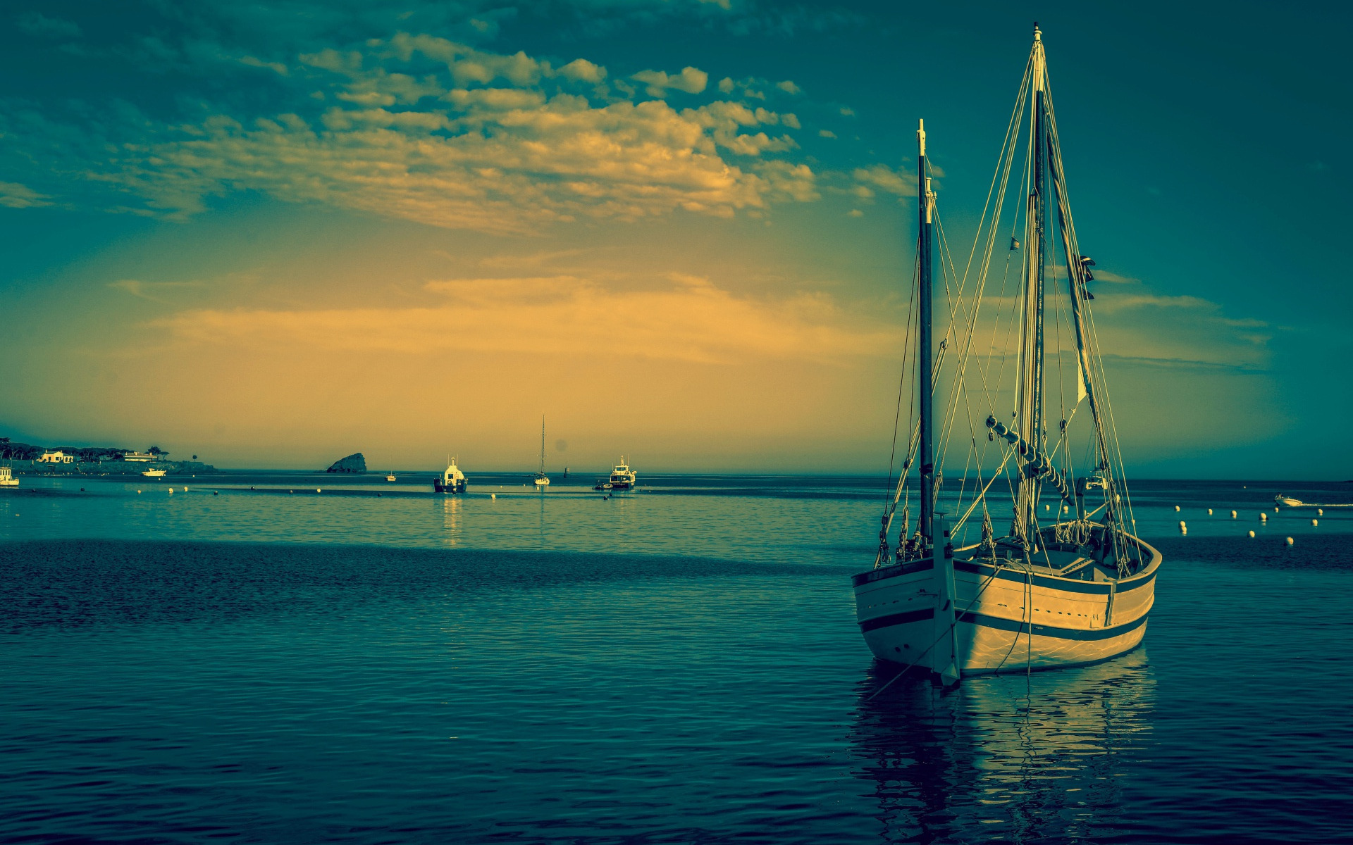 white yacht, sea, sunset, evening, seascape, summer
