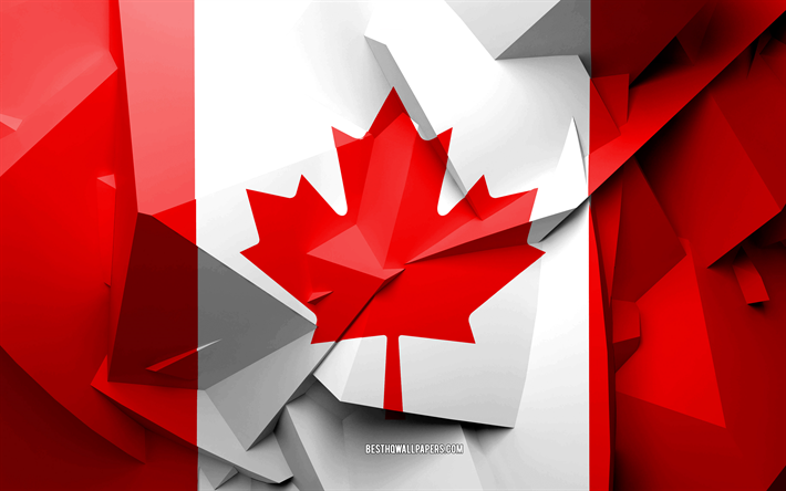 Download wallpapers 4k flag of canada geometric art north american countries canadian flag - Canada flag 3d wallpaper ...
