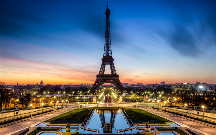 Eiffel Tower, Champs-Elysees, Paris, evening, sunset, landmark, cityscape, fountains