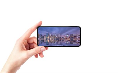 New York City, NYC, smartphone in hand, white background, smartphone, New York, World Trade Center 1, evening, sunset, New York skyline, New York cityscape, USA