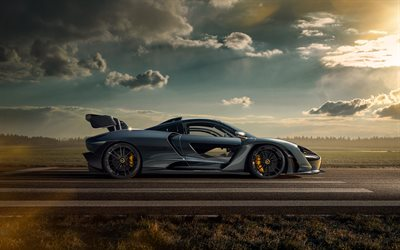 Novitec McLaren Senna, 2020, side view, hypercar, tuning Senna, British sports cars, Senna by Novitec, McLaren