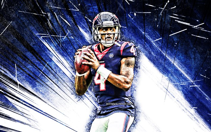 Download Wallpapers 4k Deshaun Watson Blue Abstract Rays Houston Texans National Football League Nfl Derrick Deshaun Watson Grunge Art Deshaun Watson Houston Texans Deshaun Watson 4k For Desktop Free Pictures For Desktop