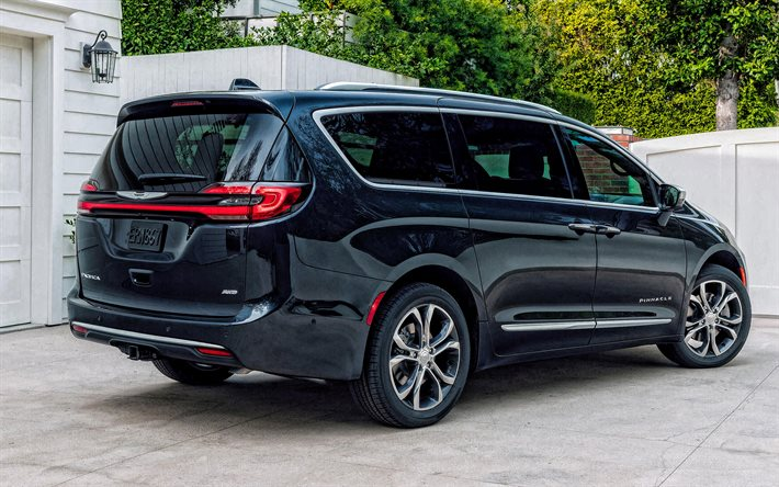 2021, Chrysler Pacifica, AWD, Minivan, exterior, rear view, new black Pacifica, black minivan, american cars, Chrysler
