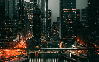 Chicago, night, evening, modern buildings, skyscrapers, modern architecture, metropolis, Illinois, USA