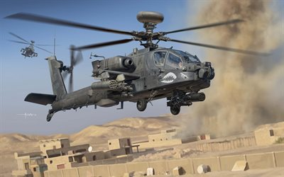 AH-64D Apache, McDonnell Douglas AH-64 Apache, US Army, Auletta, american attack helicopter, drawing combat helicopter, American helicopters