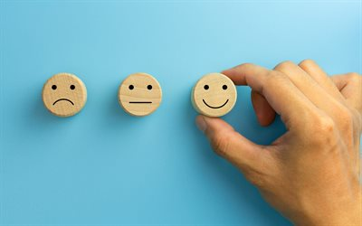 emotions concepts, sadness, smile, choose positive, always smile, keep smiling, positive concepts, emotions on a wooden background