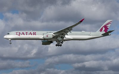 Airbus A350-1000, passenger plane, airliner, Qatar, airplane travel, Qatar Airways, Airbus, Airbus A350 XWB