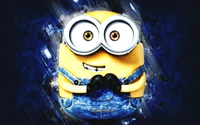 Bob, Despicable Me, minions, Bob the Minion, blue stone background, Despicable Me characters, Bob minion