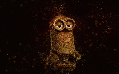 Tim the Minion, Despicable Me, Tim, glitter art, Minions, creative art, Tim Minion, black background, Despicable Me characters