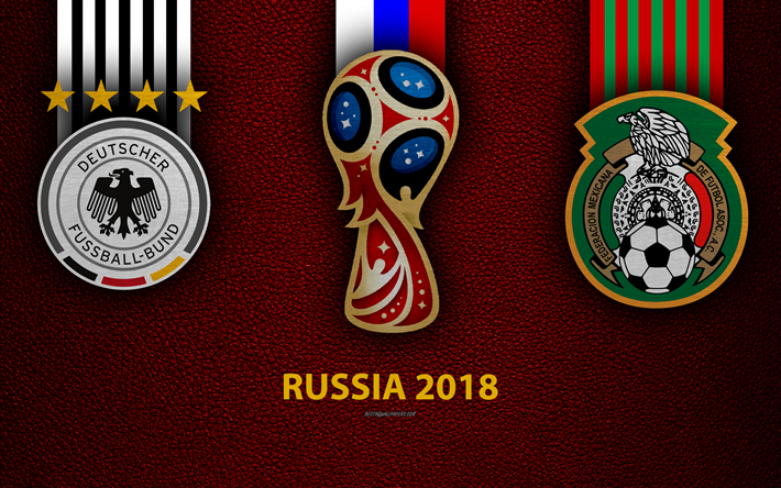 Germany vs Mexico, 4k, football, logos, 2018 FIFA World Cup, Russia 2018, burgundy leather texture, Russia 2018 logo, cup, Germany, Mexico, national teams, football game
