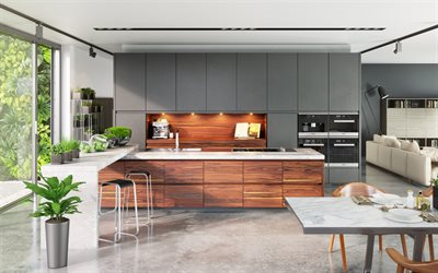 modern stylish kitchen, gray furniture, modern interior design, apartments, project, modern dining room