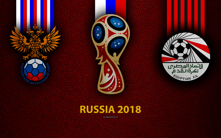 Russia vs Egypt, 4k, football, logos, 2018 FIFA World Cup, Russia 2018, burgundy leather texture, Russia 2018 logo, cup, Russia, Egypt, national teams, football game