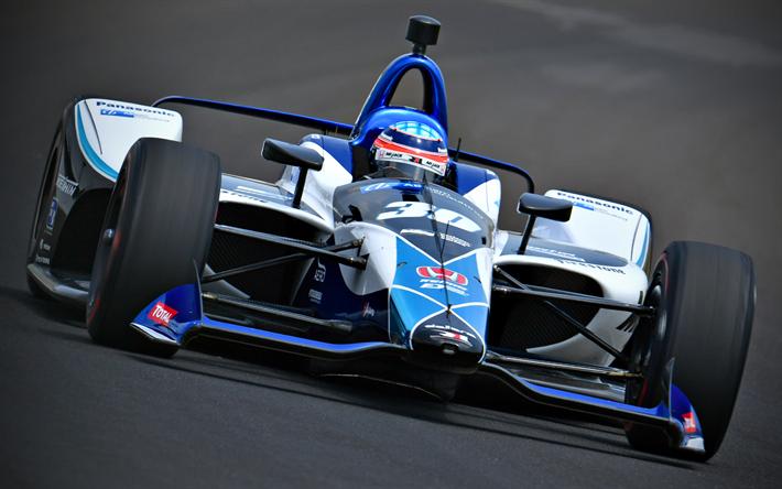 Takuma Sato, 4k, raceway, Indycar Series, 2018 cars, Rahal Letterman Lanigan