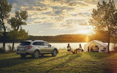 Subaru Outback, 2018, rear view, new station wagon, off-road version, new gray Outback, Japanese cars, Subaru