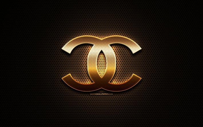 Scarica Sfondi Chanel Logo Glitter Creativo Griglia Di Metallo