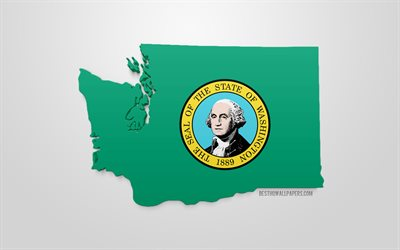 3d flag of Washington, map silhouette of Washington, US state, 3d art, Washington 3d flag, USA, North America, Washington, geography, Washington 3d silhouette
