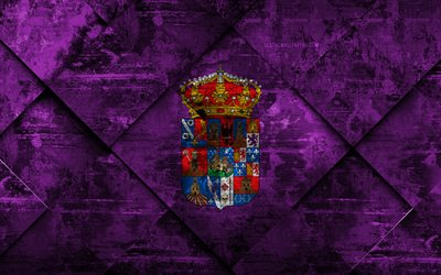 Flag of Guadalajara, 4k, grunge art, rhombus grunge texture, spanish province, Guadalajara flag, Spain, national symbols, Guadalajara, provinces of Spain, creative art