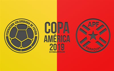 Colombia vs Paraguay, 2019 Copa America, football match, promo, Copa America 2019 Brazil, CONMEBOL, South American Football Championship, creative art, Colombia, Paraguay, football