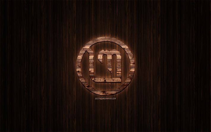 Download Wallpapers Linux Mint Logo Wooden Logo Wooden
