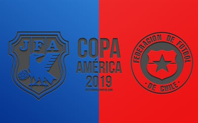 Japan vs Chile, 2019 Copa America, football match, promo, Copa America 2019 Brazil, CONMEBOL, South American Football Championship, creative art, Japan, Chile, national football team, football