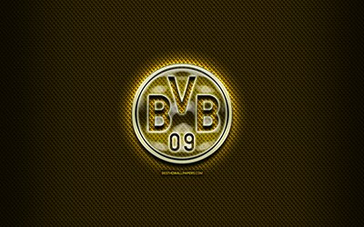 Borussia Dortmund FC, glass logo, yellow abstract background, Bundesliga, soccer, german football club, Borussia Dortmund logo, football, creative, BVB, Borussia Dortmund, Germany