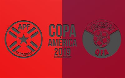 Paraguay vs Qatar, 2019 Copa America, football match, promo, Copa America 2019 Brazil, CONMEBOL, South American Football Championship, creative art, Paraguay, Qatar, national football team, football
