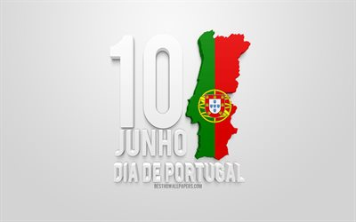 Portugal Day, 10 June, 3d flag of Portugal, map silhouette of Portugal, creative 3d art, white background, Day of Portugal