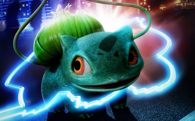 Bulbasaur, 4k, Pokemon Detective Pikachu, 2019 movie, fan art, cartoon dinosaur, Detective Pikachu