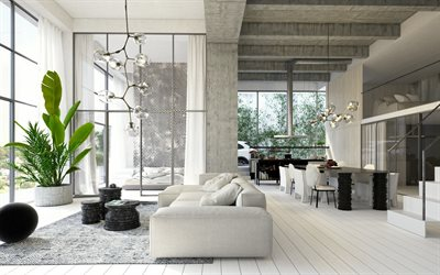 stylish interior design, country house, creative lamps, loft style, dining room, concrete ceiling, concrete walls