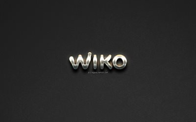 Wiko logo, steel logo, Tinno Mobile, brands, steel art, gray stone background, creative art, Wiko, emblems